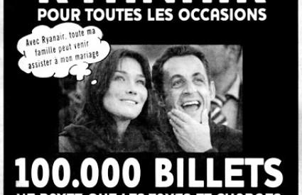 Sarkozy i Bruni tuže Ryanair zbog korištenja njihove slike u oglasu za jeftinije karte