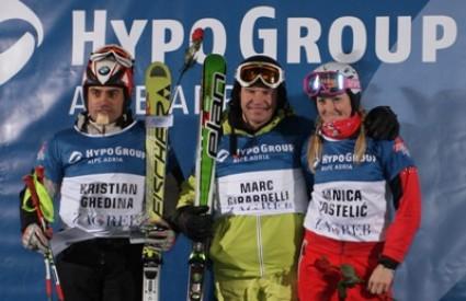Pobjednici Utrke legendi: drugo mjesto Kristian Ghedina, Marc Girardelli, treće mjesto Janica Kostelić