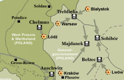 Karta nacističkih logorau Poljskoj među kojima i onaj u Belezcu