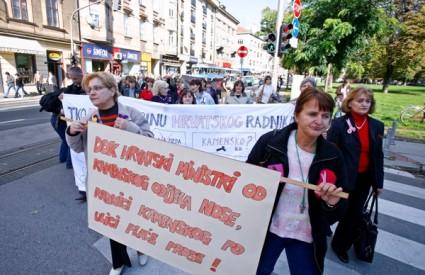 Radnice Kamesnkog u prosvjednoj šetnji Zagrebom