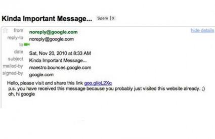 Posjetom web stranici omogućili ste ubiranje svog e-maila