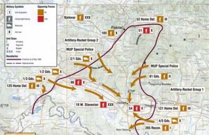 Karta vojnih akcija tijekom Bljeska