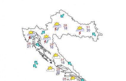 Samo Dalmacija i Slavonija bit će pošteđeni kiše