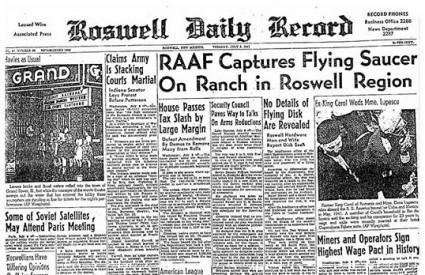Naslovnica Roswell Daily Recorda