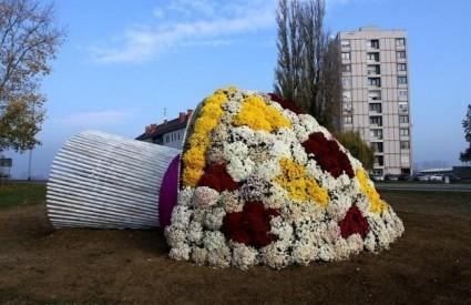 Na ulazu u Vukovar postavljen je ogroman buket cvijeća