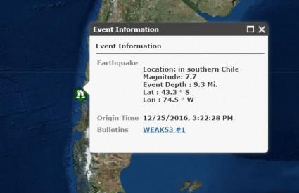 Potres je, na sreću, udario prilično nenaseljen dio Čilea