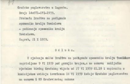 Građevinska dozvola za spomenik kralju Tomislavu